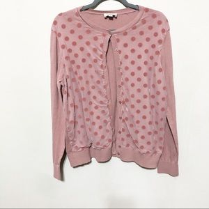 Loft Sweater Cardigan Button Up Pink Polka Dot